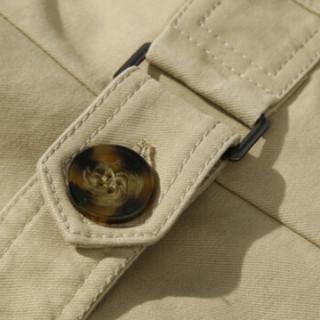 卡帝乐鳄鱼(CARTELO)风衣 男士潮流纯色翻领中长款风衣外套QT4000-5793卡其色5XL