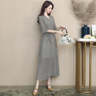 丝柏舍2019年春季新款女装韩版v领七分袖长款印花雪纺喇叭袖气质连衣裙 S81R0741LA4L  绿色 L