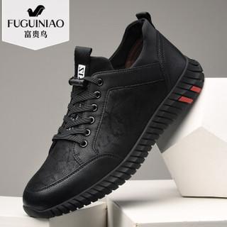 Fuguiniao 富贵鸟 时尚潮流男士休闲鞋系带舒适百搭青年 A801057 黑色 42