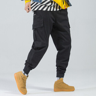 富贵鸟(FUGUINIAO)工装裤2019春季新款潮牌束脚裤嘻哈宽松hiphop小脚裤子 黑色 S
