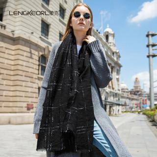 凌克羊毛围巾女学生韩版空调办公室披肩两用女士高档礼盒装防寒披肩女 黑色