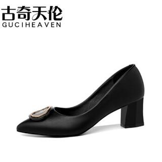 GUCIHEAVEN 古奇天伦 女士韩版尖头粗跟套脚纯色百搭职业单鞋 9281 黑色 38