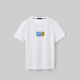 HLA海澜之家短袖T恤男2019夏季新品趣味图案圆领舒适短T男款HNTBJ2R021A米白花纹(21)180/96A(52)