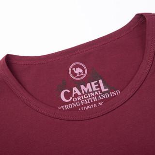 骆驼(CAMEL)男装 时尚休闲多色字母印花圆领男青年短袖T恤 SB7374089 暗红XL