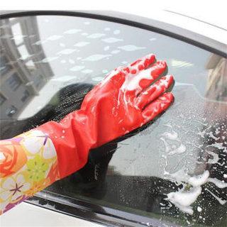 硕基 SUOTJIF 红色 洗车加绒防水手套  冬季手套防水洗车 防水洗衣家务洗碗 洗车家用洗菜专用橡胶加厚手套
