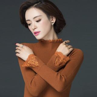 丽乔 2019春季新款针织衫女套头卷边领蕾丝边弹力打底百搭修身毛衣女 FFXMY9506/9507 9506黑色 M