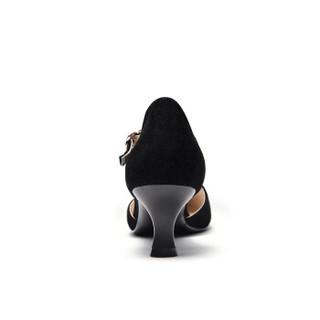 Fuguiniao 富贵鸟 性感女士单鞋细跟鱼嘴一字扣带中空时尚K99P050S 黑色 36