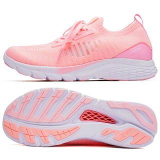 XTEP 特步 女鞋321跑步鞋氢风科技轻便网面运动鞋轻便休闲时尚袜套 982218119573 粉红 38码