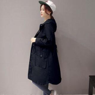 维迩旎 2019春季新款女装新品风衣女连帽单排扣中长款裙摆型纽扣系带口袋 yzLWQY16691 黑色 S