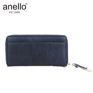 日本anello 日本潮流时尚圆弧拉链长款钱包D0691 藏蓝色
