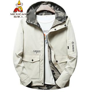 稻草人(MEXICAN)夹克男简约休闲短款男士外套户外连帽上衣夹克外套  J1902 米白 3XL