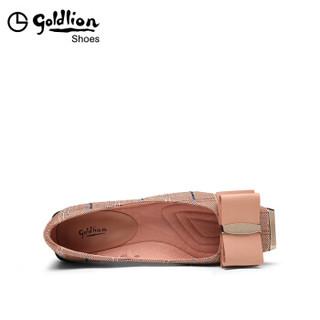 goldlion 金利来 女士方头平底粗跟蝴蝶结扣格子布浅口单鞋62391009042P-浅棕-39码