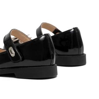 斯纳菲女童皮鞋新款公主皮鞋小童宝宝皮鞋儿童秋季单鞋19610黑色30