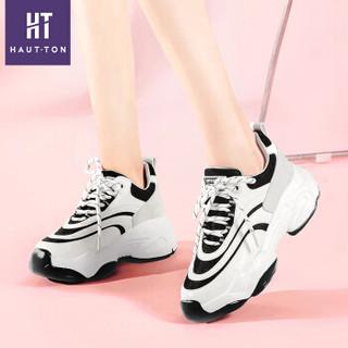 Haut Ton 皓顿 休闲小白鞋女潮流时尚系带运动板NXYD018 黑色 38