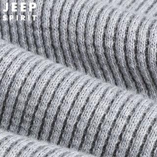 吉普 JEEP 针织衫男 2018年秋季纯色套头半高领打底衫青中年修身毛衣 XH181213JEEP 加绒-卡其 L