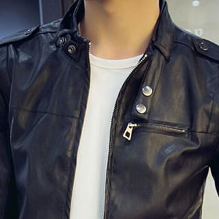 金盾(KIN DON)PU皮衣 2019春季新款男士时尚修身PU皮夹克外套A351-P07黑色XL