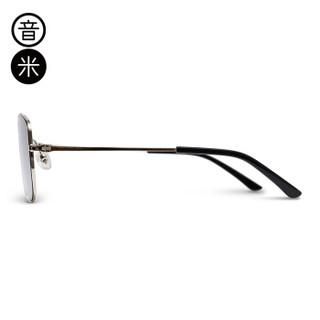 音米 inmix ABSAJK502 2019新品男款时尚休闲商务风偏光太阳镜 银框银片
