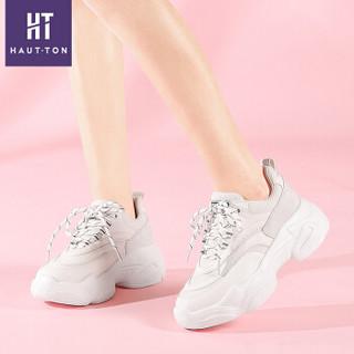 Haut Ton 皓顿 休闲小白鞋女潮流时尚系带运动板NXYD018 白色 36