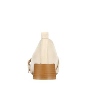 CAMEL 骆驼 女士 文艺复古腕带方头粗跟单鞋 A91514689 米色 35
