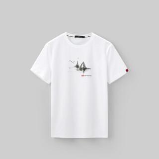 HLA海澜之家短袖T恤男2019夏季新品帆船印花舒适圆领短T男款HNTBJ2R264A米白花纹(S4)175/92A(50)