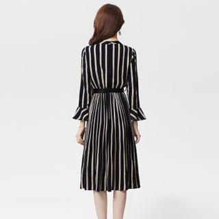 丝柏舍2019年春季新款女装时尚简约圆领气质高腰条纹中长连衣裙 S81R0953LA5M 蓝色 M