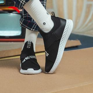 ANTA 安踏 女鞋运动鞋2019新款绑带潮流街拍ins休闲鞋女跑步鞋 92918850 黑/安踏白 5(女35.5)