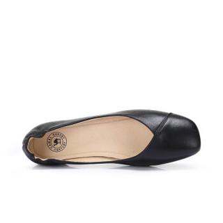CAMEL 骆驼 女士 文艺舒适牛皮方头套脚单鞋 A915046183 黑色 36