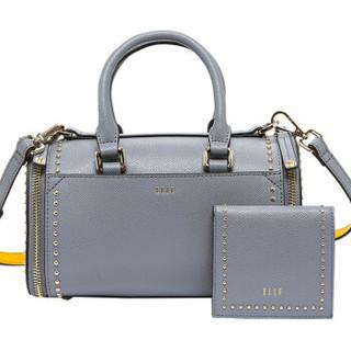 ELLE 她 手提包卡包分离拉链实用牛皮单肩斜挎铆钉包包EB80032GY 灰色