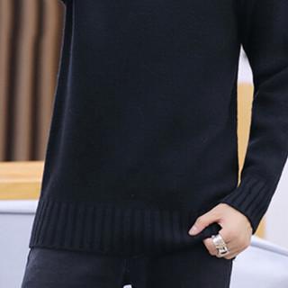 卡帝乐鳄鱼(CARTELO)针织衫 男士潮流半高领套头纯色长袖毛衣打底衫1212-M2811黑色XL