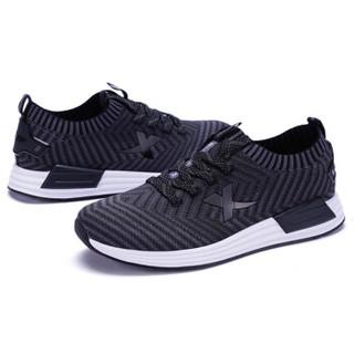 XTEP 特步 男鞋跑鞋网布编织休闲鞋透气运动鞋子缓震透气跑步鞋 982119119310 灰黑 40码