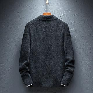 AEMAPE/美国苹果 毛衣男士针织衫2018冬季新款保暖半高领纯色套头衫线衣男式修身上衣 712 深灰 L