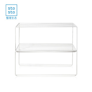 整理生活 分层置物架 桌面衣柜橱柜收纳架 铁艺小号2个装