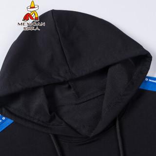 稻草人(MEXICAN)卫衣男士简约连帽卫衣个性印花字母长袖T恤上衣男士套头衫 F8913 黑色 2XL