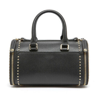 ELLE 她 女包手提包卡包分离拉链实用牛皮单肩斜挎铆钉包包EB80032BK 黑色