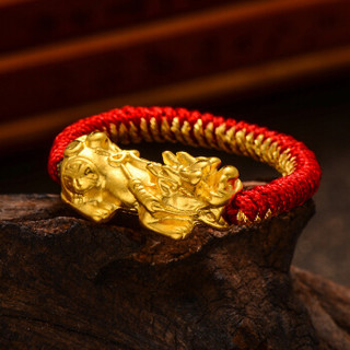 蒂蔻 T0354招财貔貅黄金戒指男女款3D硬金编织绳指环情侣款足金饰品结婚纪念日礼物