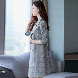 米兰茵(MILANYIN)女装 2019年春季时尚潮流休闲双排扣长袖中长款百搭格子风衣 ML19172 蓝格 2XL