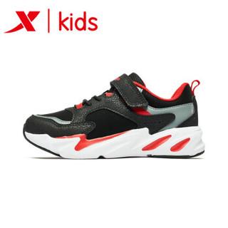 特步童鞋 男童运动鞋潮流老爹鞋2019新款春秋季时尚儿童休闲鞋子 681115329170 黑红 32