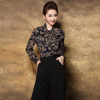 奥豚 AOTUN 时尚妈妈装春装两件套装中年中老年人女装长袖40-50岁宽松上衣GLR-8706 藏蓝+黑裤 L