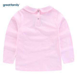 歌瑞家(greatfamily)童装女童长袖T恤春季新款儿童上衣女孩长袖T恤打底衫 粉色90
