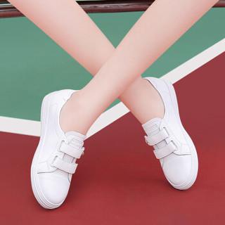 LAIKAJINDUN 莱卡金顿 韩版时尚女士平底低系带潮流休闲鞋 6652 白色(魔术贴) 36