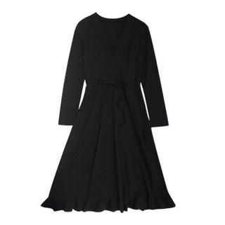 朗悦女装 2019春季新款韩版长袖连衣裙中长款针织裙V领气质打底裙LWQZ189115T 黑色 L