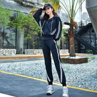 朵彩 2019潮流新款健身房跑步运动服套装 女款连帽健身房速干瑜伽服三件套 黑色 XL