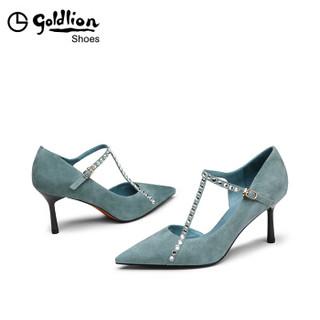 goldlion 金利来 女士尖头细高跟时尚水钻装饰职业浅口单鞋61291008760P-蓝色-38码