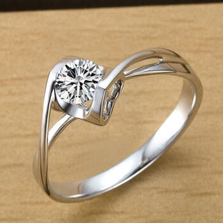 鸣钻国际 钻戒女 30分钻戒 PT950铂金白金钻石戒指结婚求婚女戒 情侣钻石对戒女款 天使之吻 F-G/SI