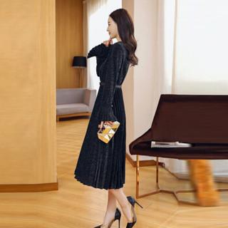 米兰茵(MILANYIN)女装 2019年春季X型拉链长袖荷叶袖圆领舒适修身纯色连衣裙 ML19049 黑色 2XL