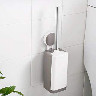 加品惠 马桶刷 无痕吸盘挂壁式卫生间马桶带底座套装 不锈钢款 WGY-1437