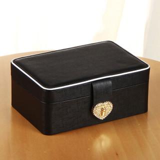 雅皮仕 创意首饰盒珠宝盒 皮革小饰品盒收纳盒 时尚带锁化妆镜子公主礼物礼品 水晶之恋 黑色