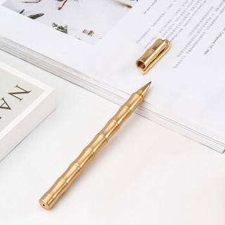天色创意礼物竹节带夹黄铜笔定制刻字中性笔0.5mm黑色笔 磨砂面TS-5606