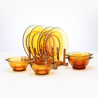 Duralex法国进口钢化玻璃碗碟盘餐具套装4人8件套彩盒装(4碗+4盘)琥珀色
