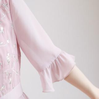 丝柏舍春季新款女装气质时尚简约优雅立领短袖韩版中长款连衣裙 S81R0973LA26M 粉色 M